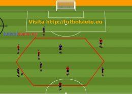Ejercicio de entrenamiento de futbol Rondo 6c3 en espacio hexagonal logo